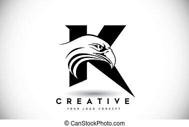 頭, k, ワシ, 手紙, ロゴ, 創造的, ベクトル, illustration.