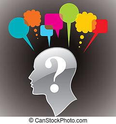 頭, questionmark, シンボル, 人間