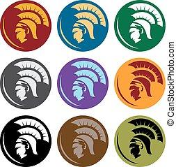 頭, spartan, ベクトル, デザイン, テンプレート, 保護