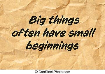 頻繁に, 始まり, 大きい, 持ちなさい, もの, 小さい