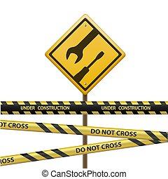 題字, 信號, 金屬標誌, 磁帶, 在下面, construction.