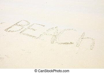 題字, 在沙子上, 海灘