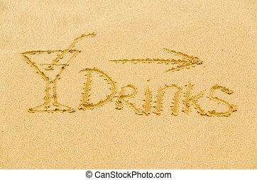 題字, 在沙子上