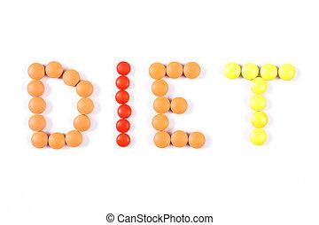 題字, 飲食, 做, ......的, 醫學, 藥丸, 以及, 小塊, 在懷特上, 背景, 飲食, 以及, 保健, 概念