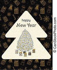 題字, poster., 背景, 黃金, 晴朗, 樹, year., 禮物, 形狀, 黑色, vector., 新, doodles., 聖誕節, 愉快