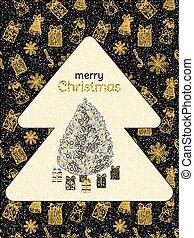 題字, poster., vector., 黃金, doodles., 樹, 禮物, 形狀, 黑色的背景, 晴朗, 聖誕節