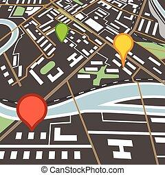 顏色, 城市, 摘要, 別針, 地圖
