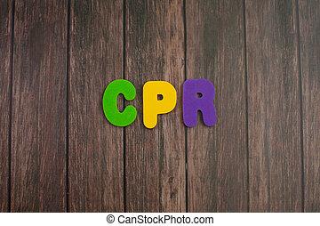 顏色, 字母表, 在, 詞, cpr, 縮寫, ......的, cardiopulmonary 复活, 上, 木頭, 背景