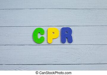 顏色, 字母表, 在, 詞, cpr, 縮寫, ......的, cardiopulmonary 复活, 在懷特上, 木頭, 背景