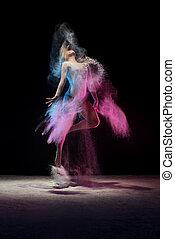 顏色, 年輕, 跳躍, 工作室, 灰塵, 女孩, 雲
