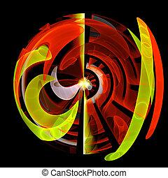 顏色, 抽象藝術, 球, 背景。
