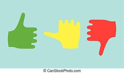 顏色, 拇指, 顯示, 感情