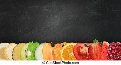 顏色, 旗幟, ......的, 水果, 上, 黑板, 背景