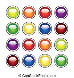 顏色, 有光澤, 网, 按鈕, -, 插圖