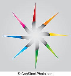 顏色, 樣板, 星