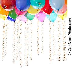 顏色, 气球, 充滿, 由于, 氦, 以及, 由于, 黃金, 旗幡, 被隔离, 在懷特上