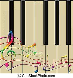 顏色, 注釋, 上, 鋼琴, 矢量