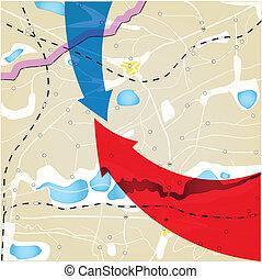 顏色, 箭, 計劃, 地理