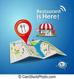 顏色, 紅色, 點, 標誌, 矢量, 餐館, 地圖, 摺疊