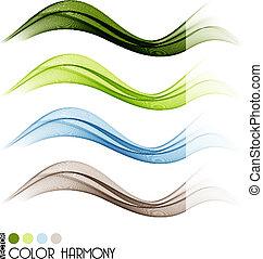 顏色, 線, 集合, 曲線