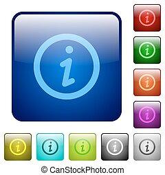 顏色, 資訊, 廣場, 按鈕
