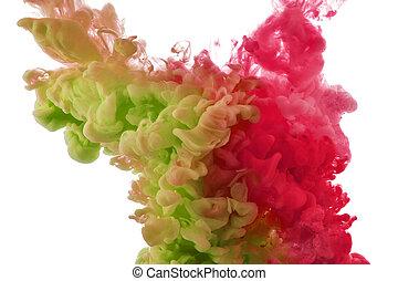 顏色, 飛濺, ......的, 墨水
