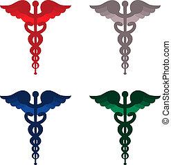 顏色, caduceus, 符號, 被隔离, 在懷特上, 背景。, 紅色, 藍色, 灰色, 以及, green.