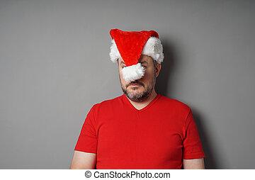 顔, の後ろ, santa, 隠ぺい, 帽子, クリスマス, hater