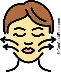 顔, スタイル, 皮膚, アウトライン, 訂正, アイコン
