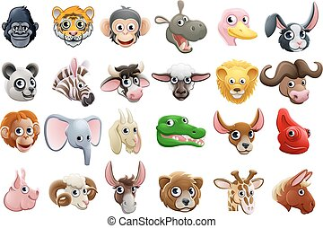 顔, セット, 漫画, 動物, アイコン