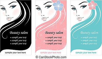 顔, デザイン, テンプレート, 流行, woman., カード