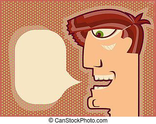 顔, デザイン, 背景, 漫画, speaking.vector, 人
