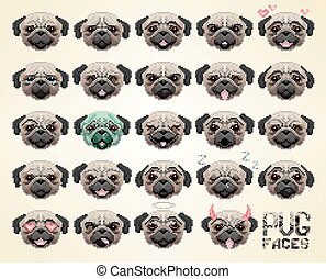 顔, パグ, emoji