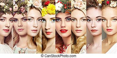 顔, 女性, 美しさ, collage.