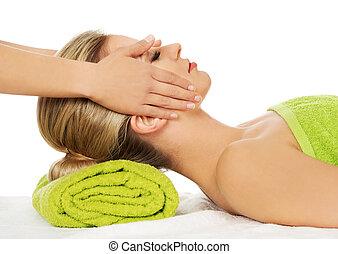 顔, 女, 持つ, massage., 若い