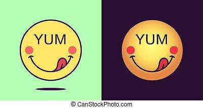 顔, 感情, 顔, テキスト, 舌, 句, emoticon, セット, yum., 漫画, emoji, 楽しい, アイコン