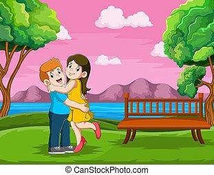 顔, 母, 幸せ, 父, 抱き合う
