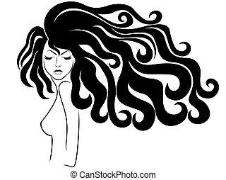 顔, 毛, sensual, 女性, 流れ
