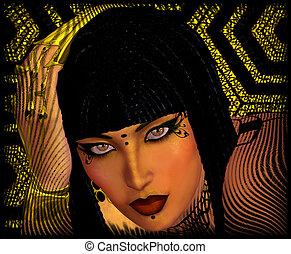 顔, 終わり, 女, の上, エジプト人