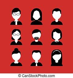顔, 黒, セット, アイコン, 白い背景, 赤