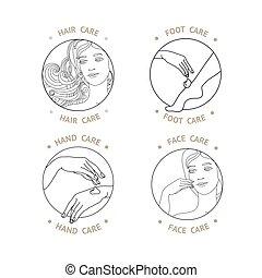 顔, care., 手, vector., フィート, 毛