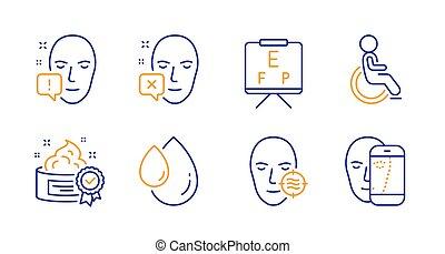 顔, signs., アイコン, ビジョン, 板, ベクトル, 不具, 問題, オイル, 皮膚, 注意, set., 低下, クリーム