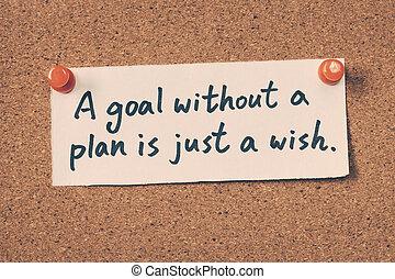 願い, なしで, ゴール, ただ, 計画