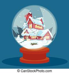 願い, ガラス玉, クリスマスイブ, 休日の 家, 冬, 雪, グリーティングカード