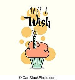 願い, 作りなさい, 挨拶, cupcake, ろうそく, カード, 祝福