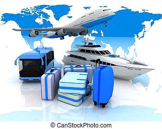 類型, ......的, 運輸, 航班, 以及, 小提箱, 上, a, 背景, 地圖, ......的, 世界