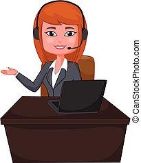 顧客サポート, 女性ビジネス, ヘッドホン
