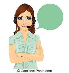 顧客サポート, 折られた 腕, 電話, スピーチ, 魅力的, 女性, オペレーター, 泡