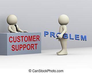 顧客サポート, 3d, 人