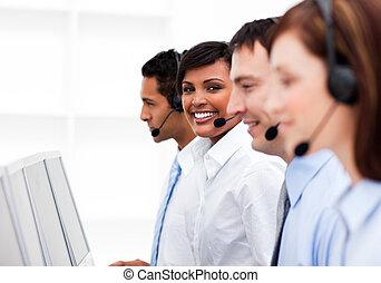 顧客服務, 代理人, 在, a, 呼叫中心